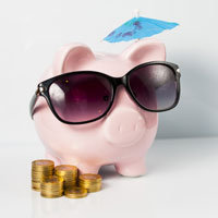 Piggy bank w/ sunglasses