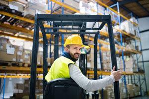 Warehouse worker forklift